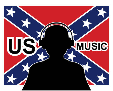 british culture: Us music concept with a silhouette of a man with headphones and confederate flag.