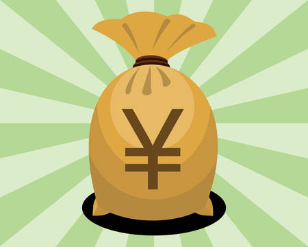 Money bag with yen sign on green background