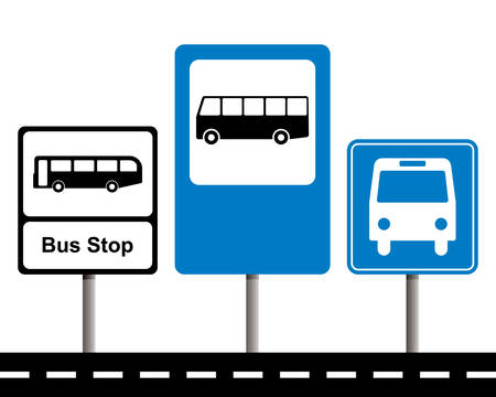 heavy metal: Set of bus stop signs.