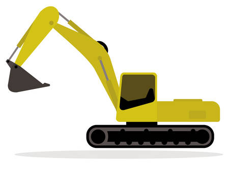 Yellow excavator with continuous tracks isolated.