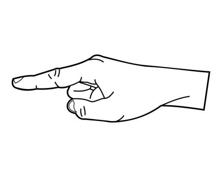 Pointing hand or point finger linear style