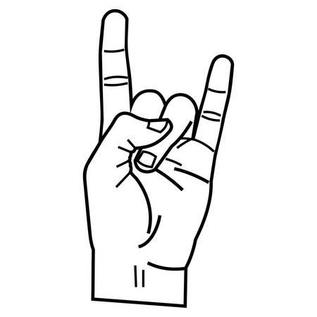 Rock and roll signo de la mano. Ilustración de vector