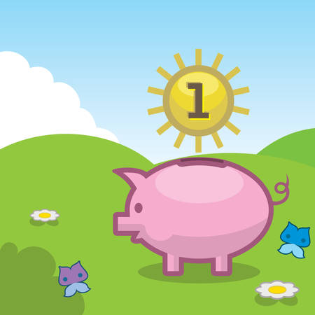 Piggy bank outdoors with sun symbolizing coin.