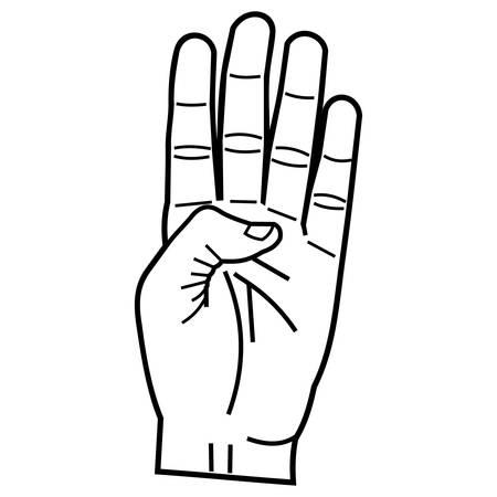 Numero quattro mano segno. Archivio Fotografico - 85878943