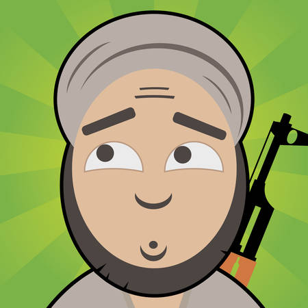dangerous man: Cartoon like terrorist with innocent, confused face and rifle on his back Illustration