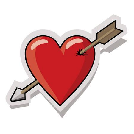 Red heart pierced by arrow Illustration