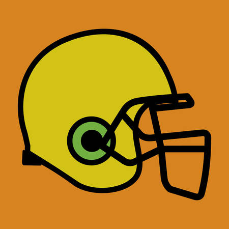 sports equipment: Football helmet in yellow color with orange background