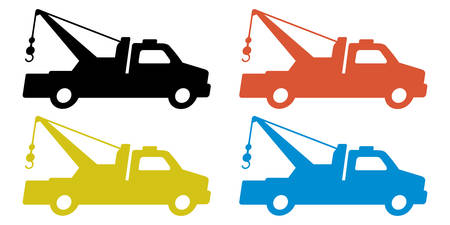 car isolated: Towing truck silhouette set