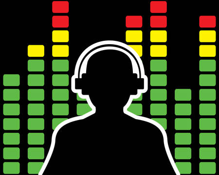 Man with headphones silhouette with equalizer background Illustration