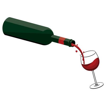 병에서 유리 붓는 와인