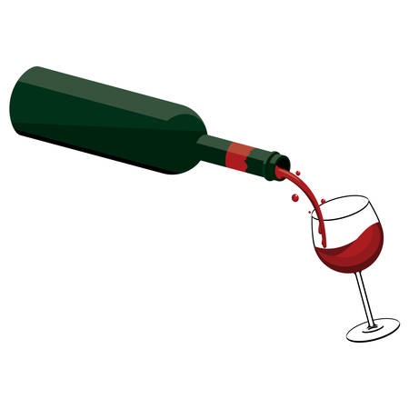 Pouring wine from bottle to glass Ilustração