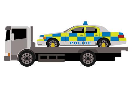 politieauto op sleepwagen