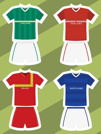 抽象的なフットボールのジャージ、アイルランド、イングランド、ウェールズ、スコットランドのセット