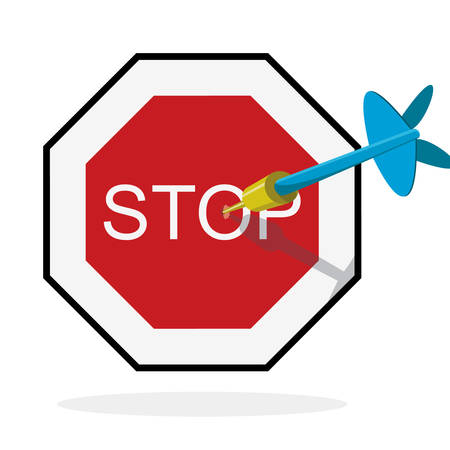 blue dart hitting center of stop sign