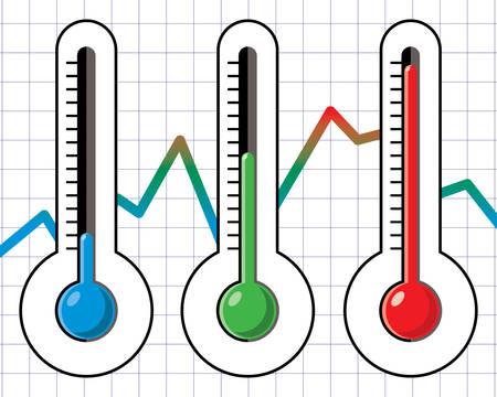 異なるレベルの温度計  イラスト・ベクター素材