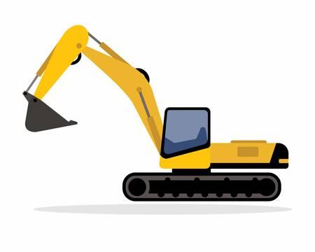 白いイラストで隔離された連続トラックを持つ黄色の掘削機。