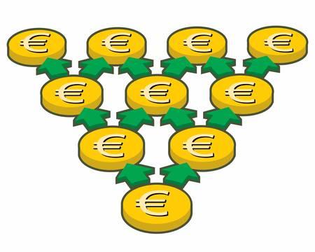 黄色のコイン、幾何学的な進行イラスト。
