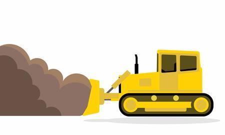 汚れを押す連続的なトラックを持つ黄色のブルドーザー。