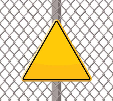 ワイヤーフェンスに空白の警告標識。