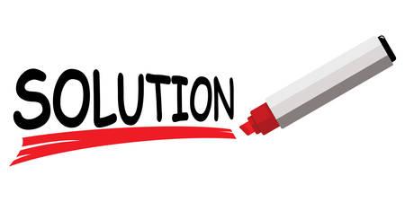 Red marker underlining word solution. Illustration
