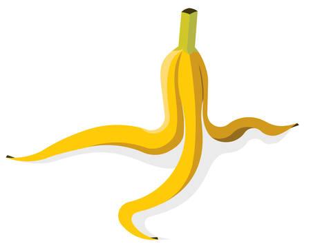 白いイラストで分離したバナナピール。