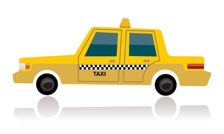 Yellow taxi, cartoon concept.
