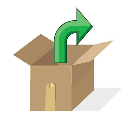 Open cardboard box with green arrow pointing out.