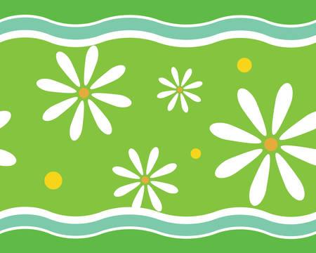 緑の色の花の壁紙パターン。  イラスト・ベクター素材