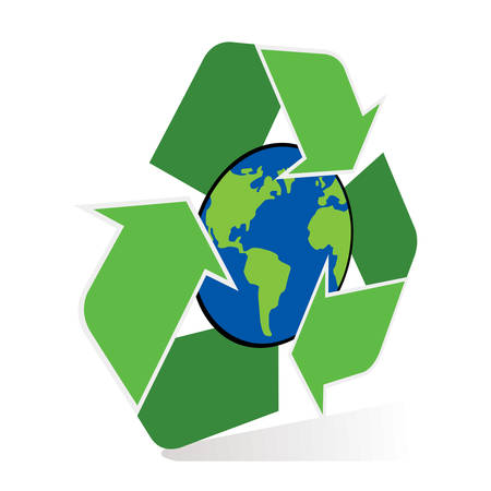 Recycle symbol with planet earth. 向量圖像
