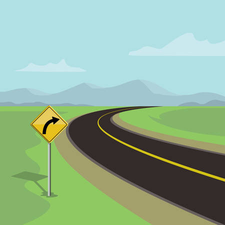 A right curve road and right turn road sign on green landscape with mountains. Illustration