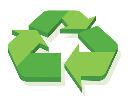 A green recycle sign illustration.