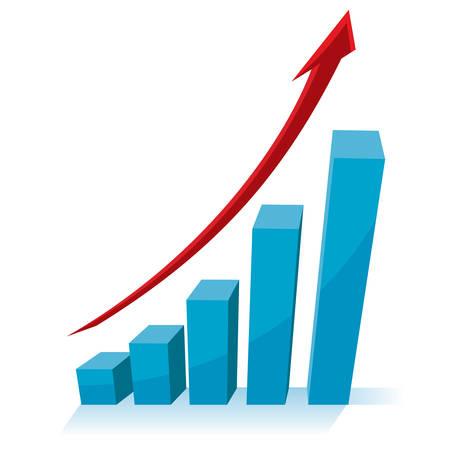 비즈니스 성장 개념, 위쪽을 가리키는 빨간색 화살표가 차트 그래프. 일러스트