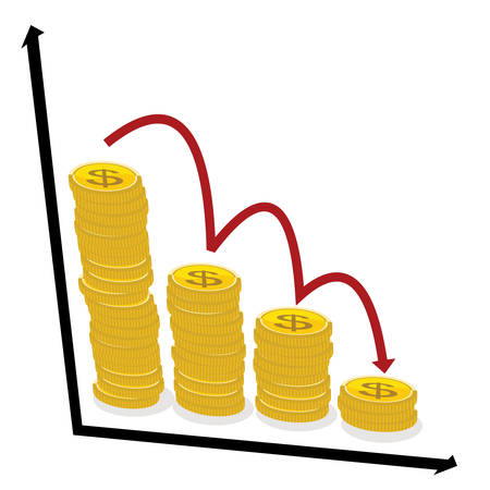 A finance decline concept, stack of coins with dollar sign and red arrow pointing down.