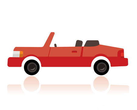 A red convertible car, funny cartoon style on white background.