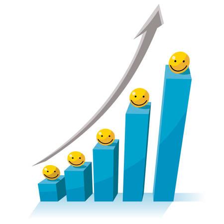 Un concetto di crescita del business, grafico grafico con freccia rossa rivolta verso l'alto.