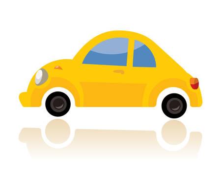A yellow car, funny cartoon style on white background. Ilustração