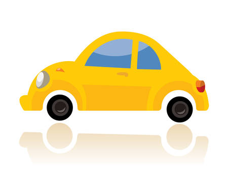 A yellow car, funny cartoon style on white background. Illustration