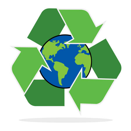 A recycle symbol with planet earth on white background. Illustration