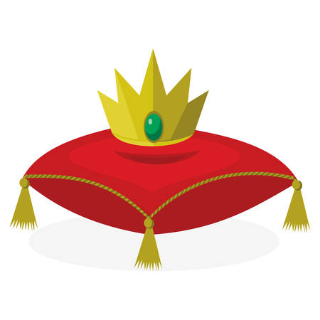 A red pillow with golden crown on white background.