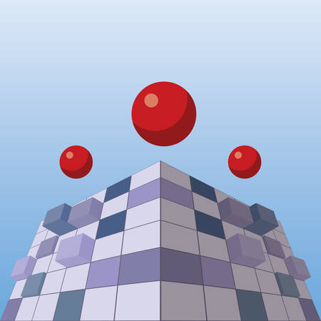 A red marble toys over abstract cube concept vector illustration.