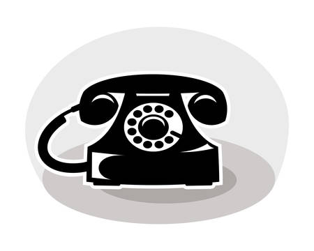 old telephone, black and white color Illustration