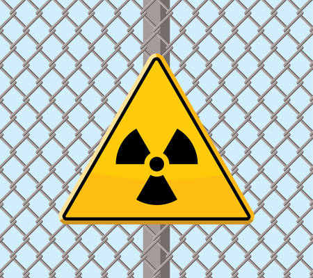 restricted area sign: radioactive warning sign on wire fence Illustration