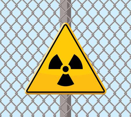 radioactive warning sign on wire fence Illustration