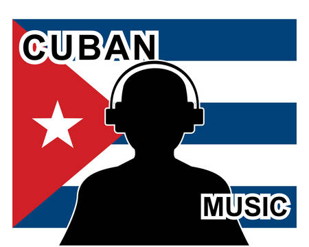 cuban music concept with a silhouette of a man with headphones and cuban flag in background