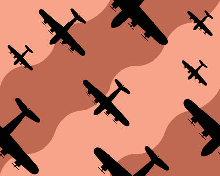 old bomber background, seamless pattern