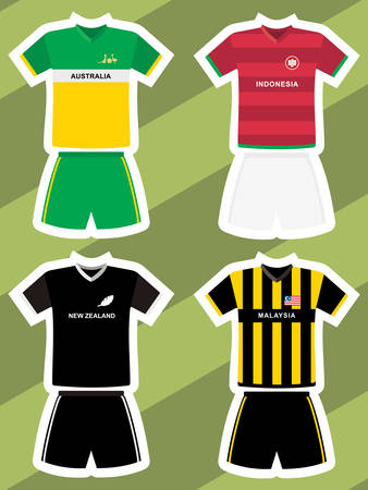 set of abstract football jerseys, australia, new zealand, indonesia and malaysia