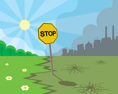 stop sign between green nature and polluted city