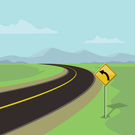 left curve road and left turn road sign, on green landscape with mountains