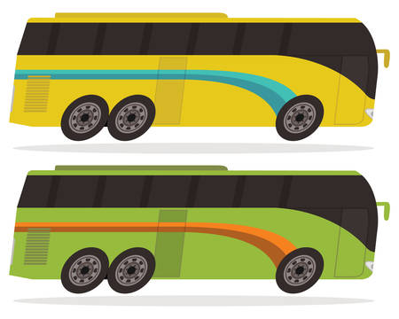 single-decker bus in yellow and green color, cartoon style