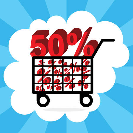 pushcart: A shopping cart with fifty percent discount vector illustration.